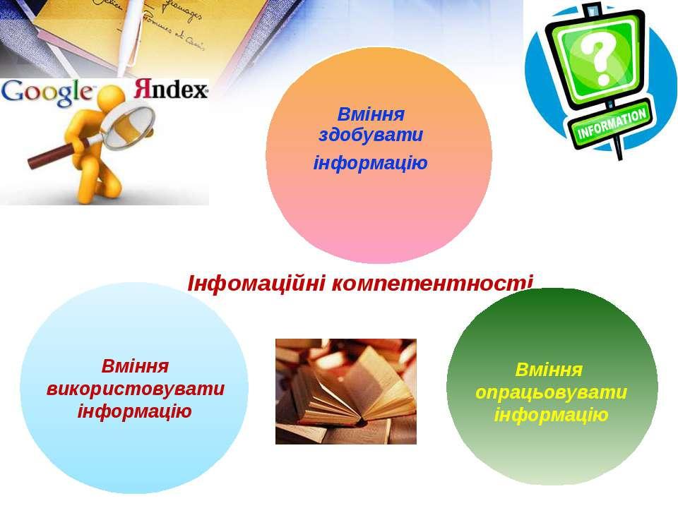 Інфомаційні компетентності Вміння використовувати інформацію