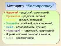 """Методика """"Кольоропису"""" Червоний – радісний, захоплений; Оранжевий – радісний,..."""