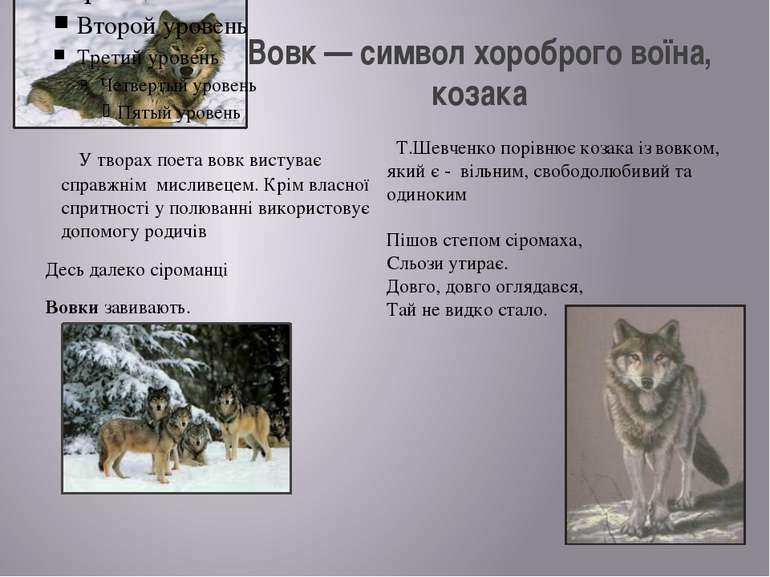 Вовк — символ хороброго воїна, козака У творах поета вовк вистуває справжнім ...