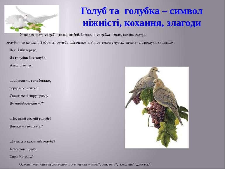 Голуб та голубка – символ ніжністі, кохання, злагоди У творах поета голуб - к...