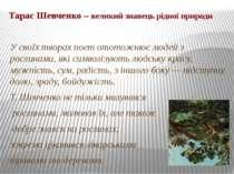 Тарас Шевченко – великий знавець рідної природи У своїх творах поет ототожнює...