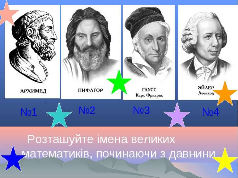 Розташуйте імена великих математиків, починаючи з давнини №1 №2 №3 №4