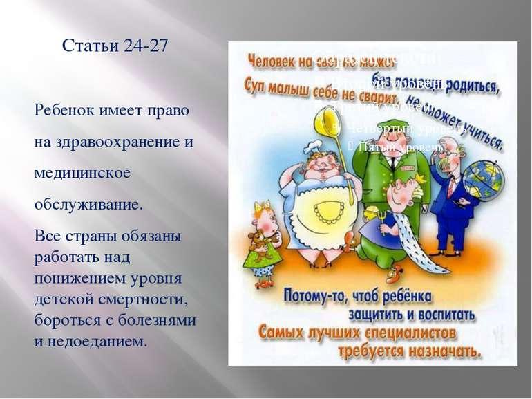 Статьи 24-27 Ребенок имеет право на здравоохранение и медицинское обслуживани...