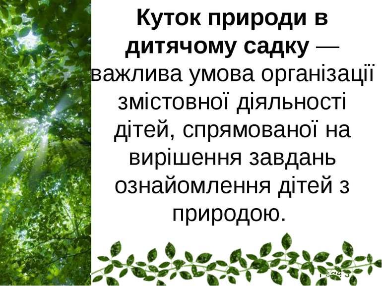 Куток природи в дитячому садку — важлива умова організації змістовної діяльно...