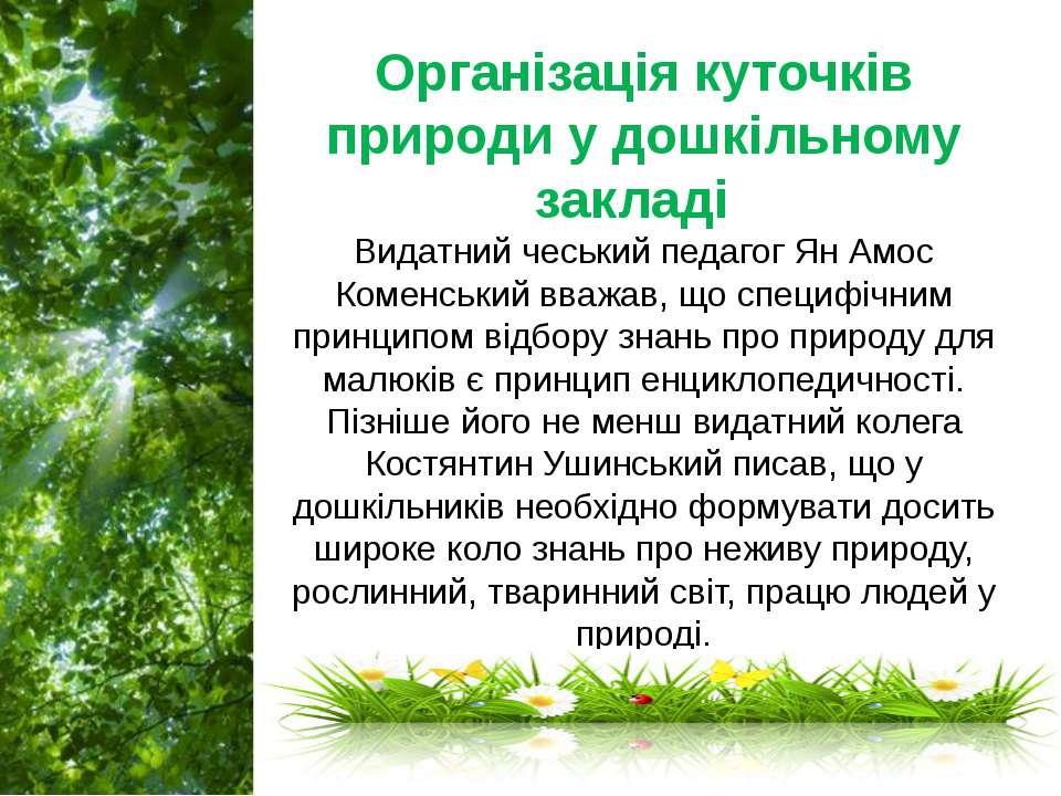 Організація куточків природи у дошкільному закладі Видатний чеський педагог ...