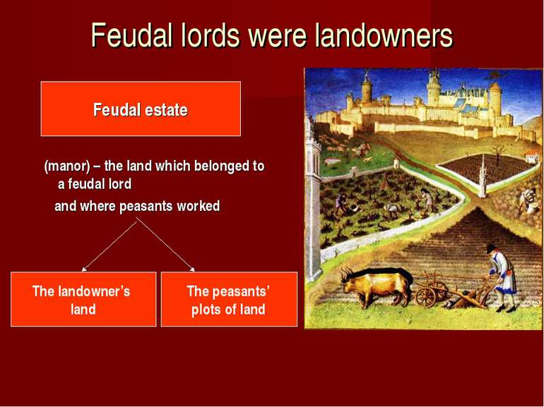Feudal lords were landowners (manor) – the land which belonged to a feudal lo...