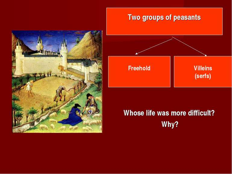Whose life was more difficult? Why? Two groups of peasants Freehold Villeins ...