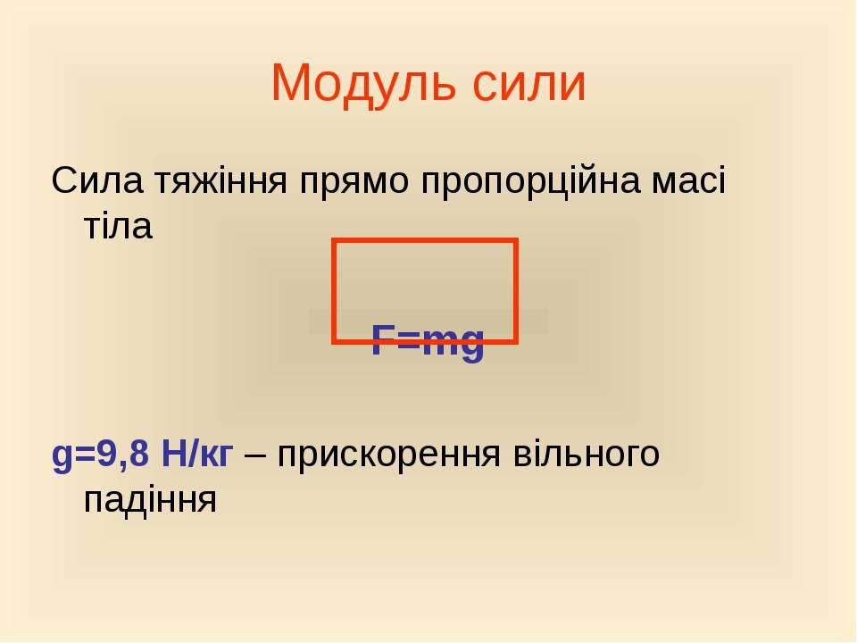 Модуль сили Сила тяжіння прямо пропорційна масі тіла F=mg g=9,8 Н/кг – приско...