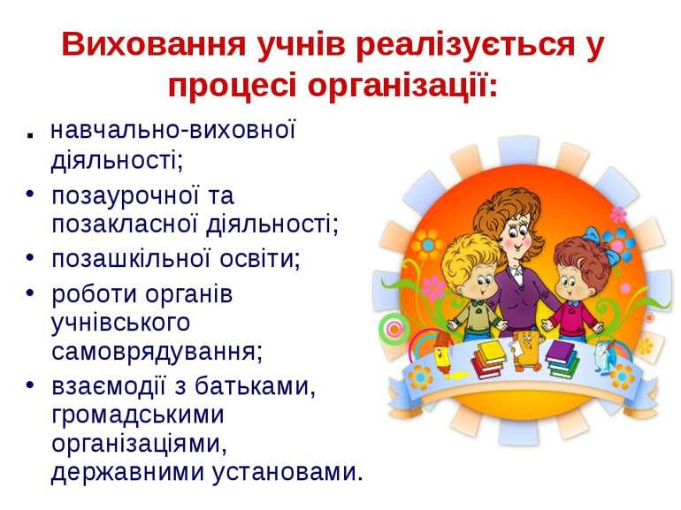 Виховання учнів реалізується у процесі організації: . навчально-виховної діял...