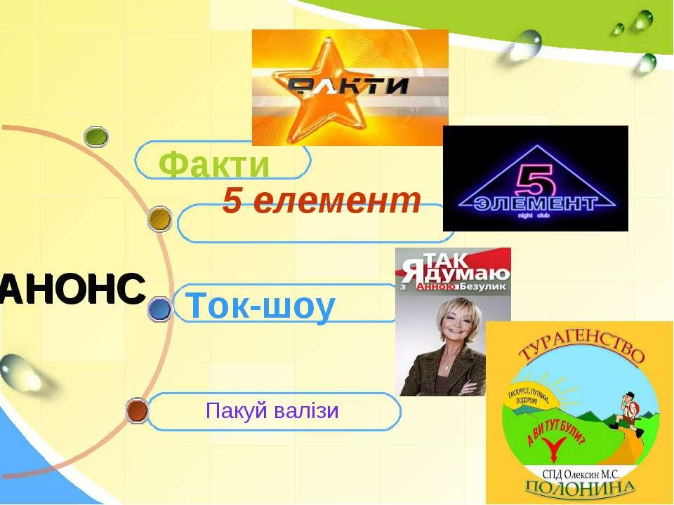 Ток-шоу АНОНС Факти 5 елемент Пакуй валізи