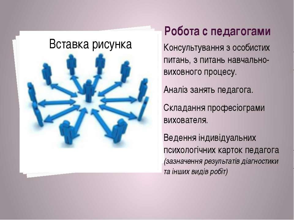 Робота с педагогами Консультування з особистих питань, з питань навчально-вих...