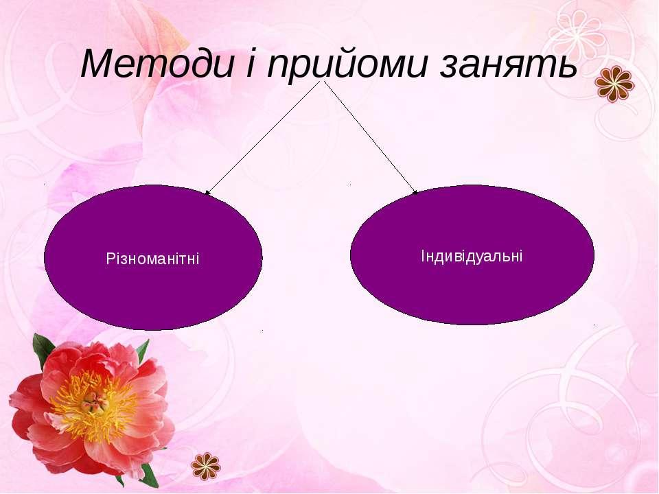 Методи і прийоми занять Різноманітні Індивідуальні