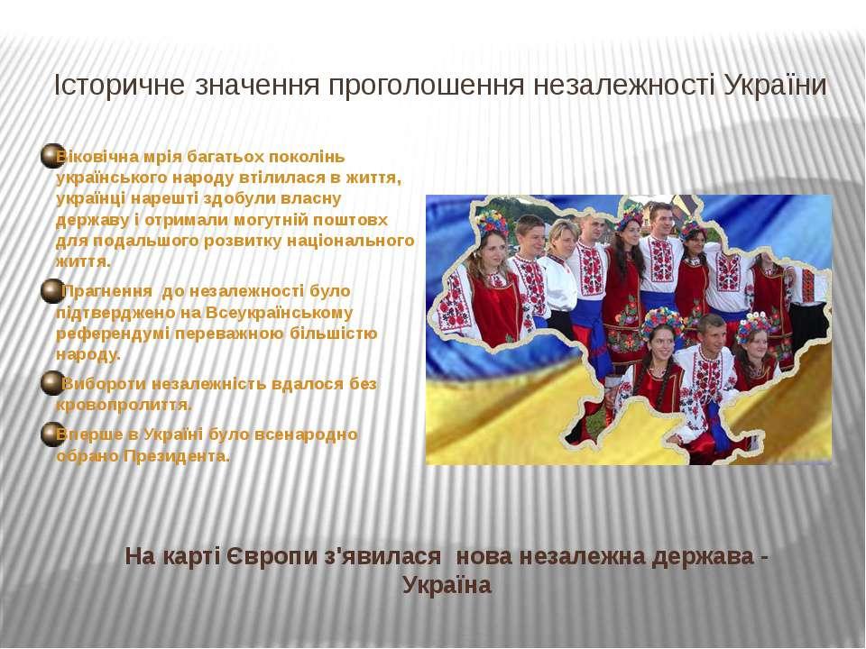 Незалежна Україна на карті Європи