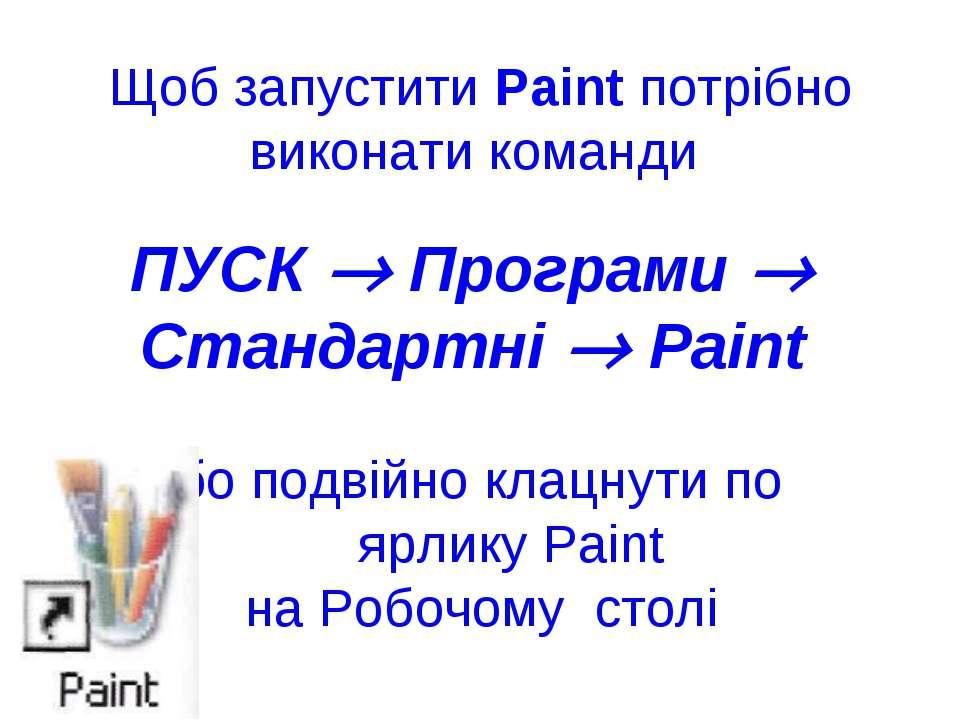 Щоб запустити Paint потрібно виконати команди ПУСК Програми Стандартні Paint ...