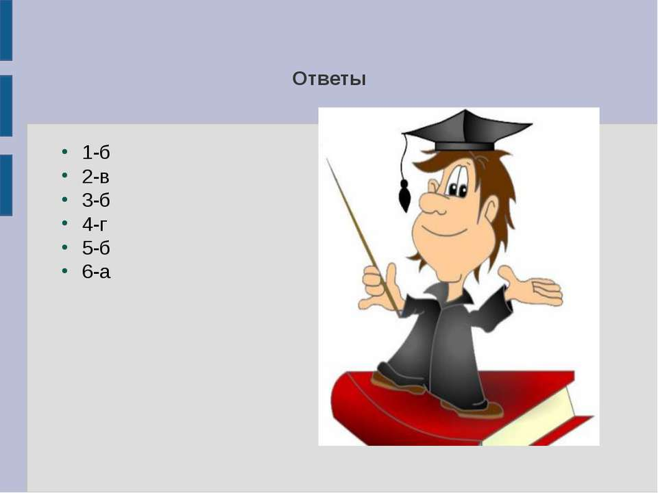 Ответы 1-б 2-в 3-б 4-г 5-б 6-а