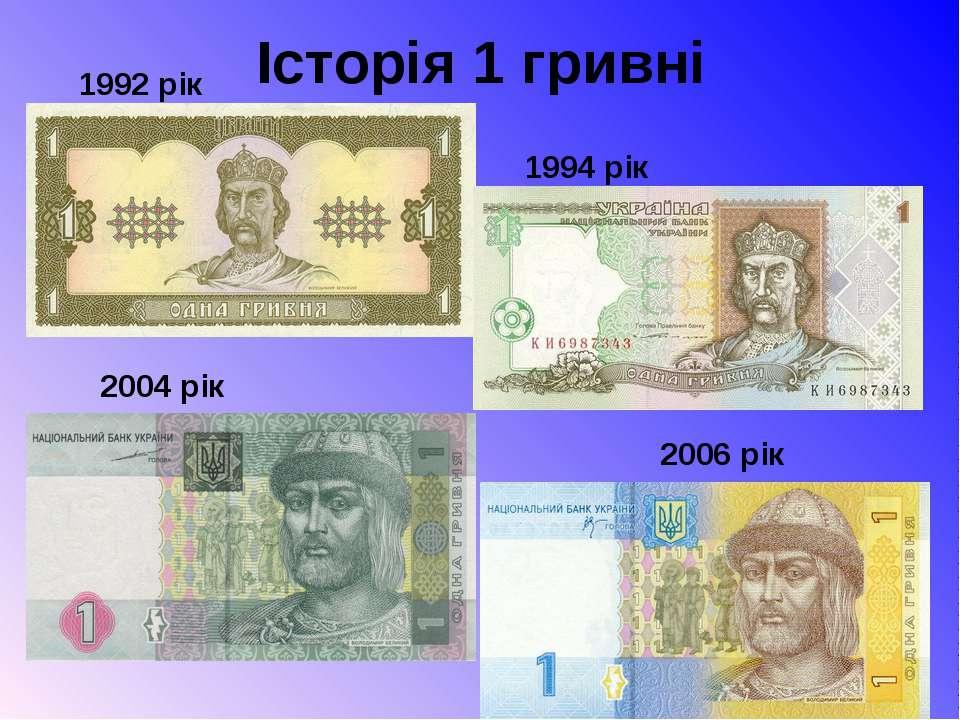 Історія 1 гривні 1992 рік 1994 рік 2004 рік 2006 рік