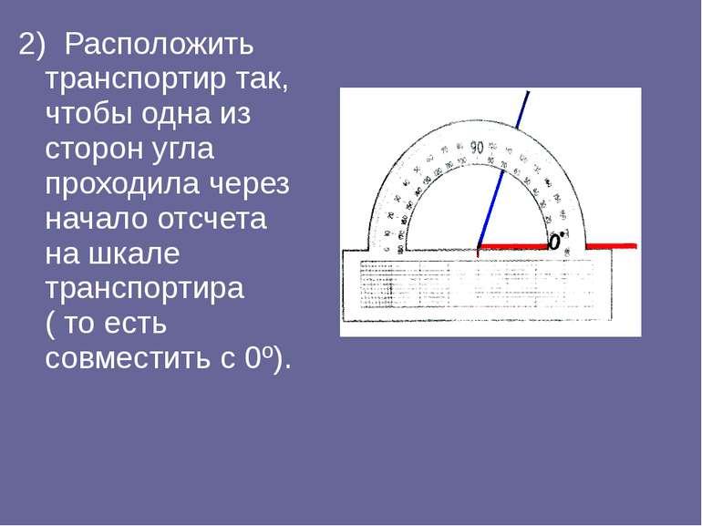 2) Расположить транспортир так, чтобы одна из сторон угла проходила через нач...