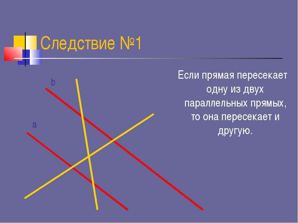 Следствие №1 Если прямая пересекает одну из двух параллельных прямых, то она ...