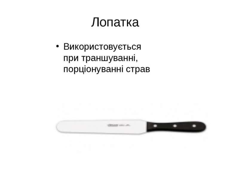 Використовується при траншуванні, порціонуванні страв Лопатка