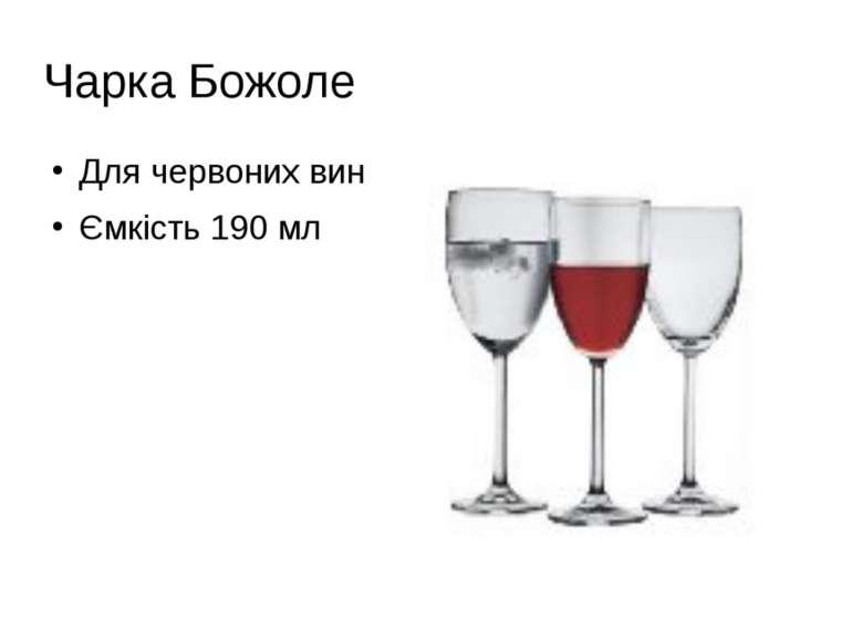 Чарка Божоле Для червоних вин Ємкість 190 мл