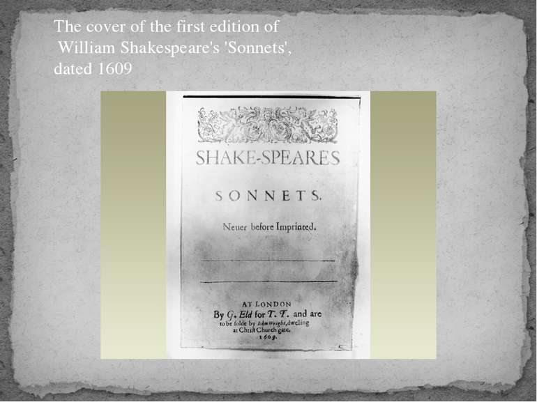 The cover of the first edition of William Shakespeare's 'Sonnets', dated 1609