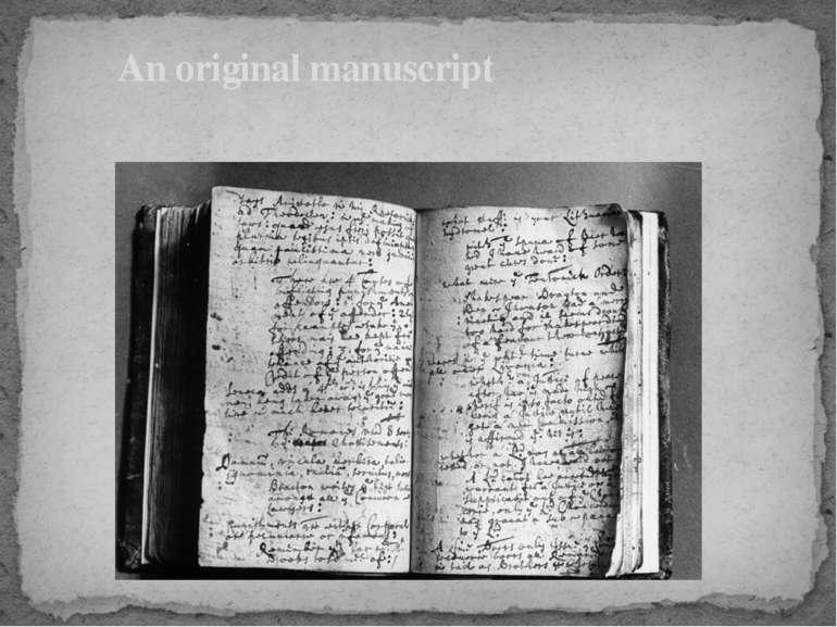 An original manuscript