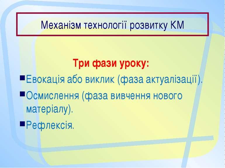 Механізм технології розвитку КМ Три фази уроку: Евокація або виклик (фаза акт...