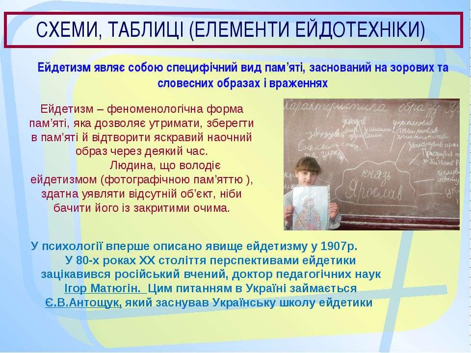 СХЕМИ, ТАБЛИЦІ (ЕЛЕМЕНТИ ЕЙДОТЕХНІКИ) Ейдетизм являє собою специфічний вид па...