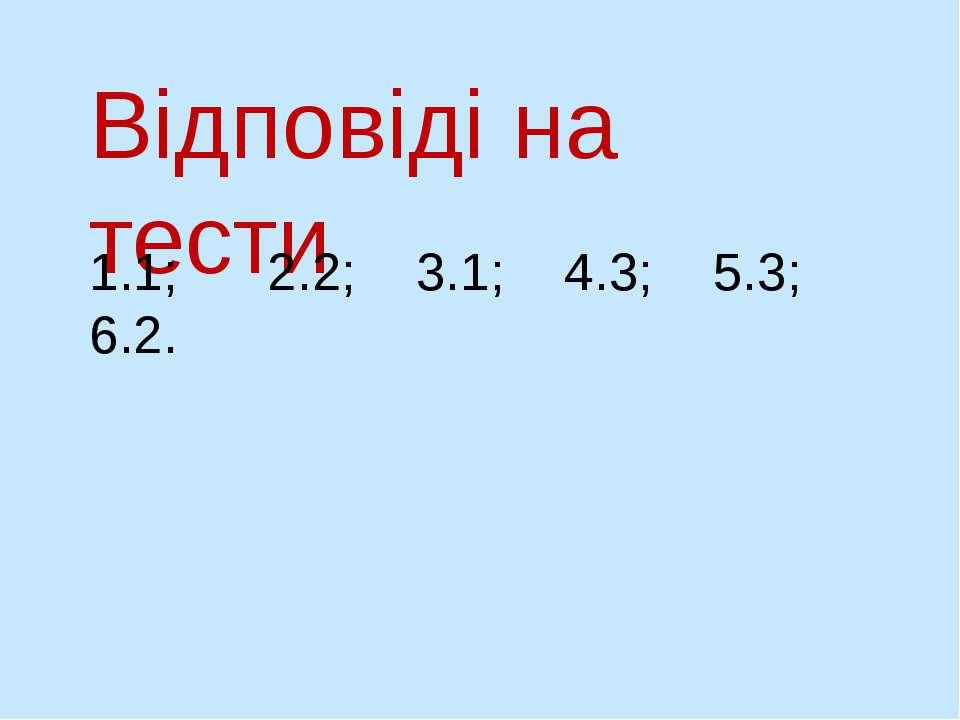 Відповіді на тести 1.1; 2.2; 3.1; 4.3; 5.3; 6.2.