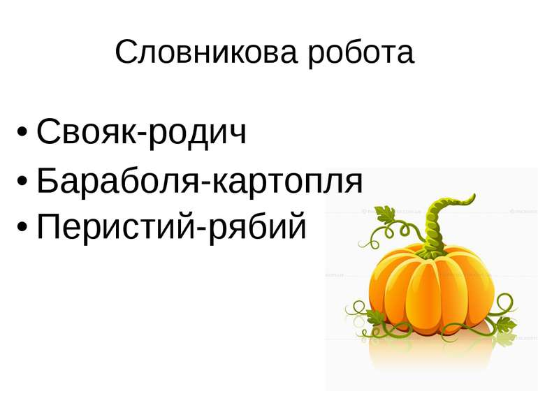 Свояк-родич Бараболя-картопля Перистий-рябий Словникова робота