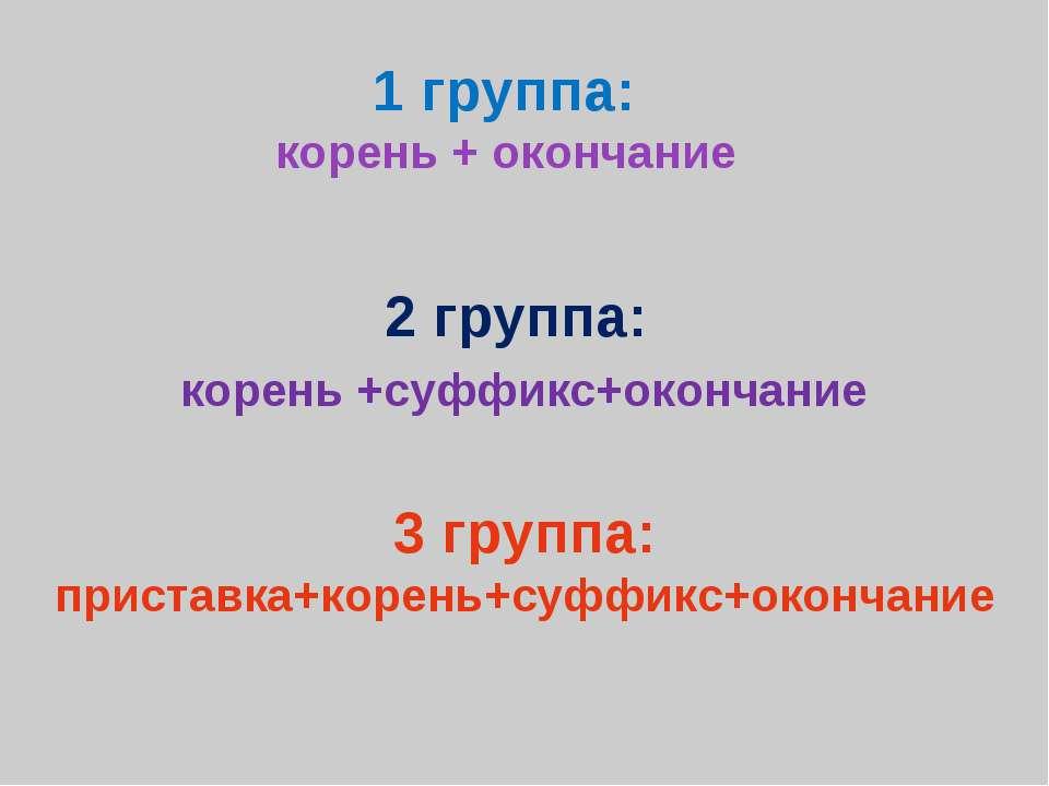 1 группа: корень + окончание 2 группа: корень +суффикс+окончание 3 группа: пр...