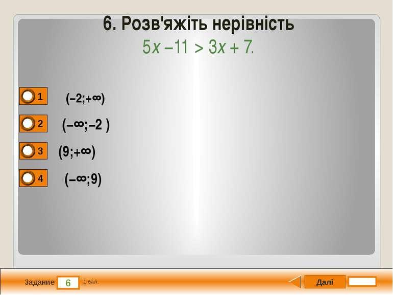 Далі 6 Задание 1 бал. 6. Розв'яжіть нерівність 5x −11 > 3x + 7. (−2;+∞) (−∞;−...