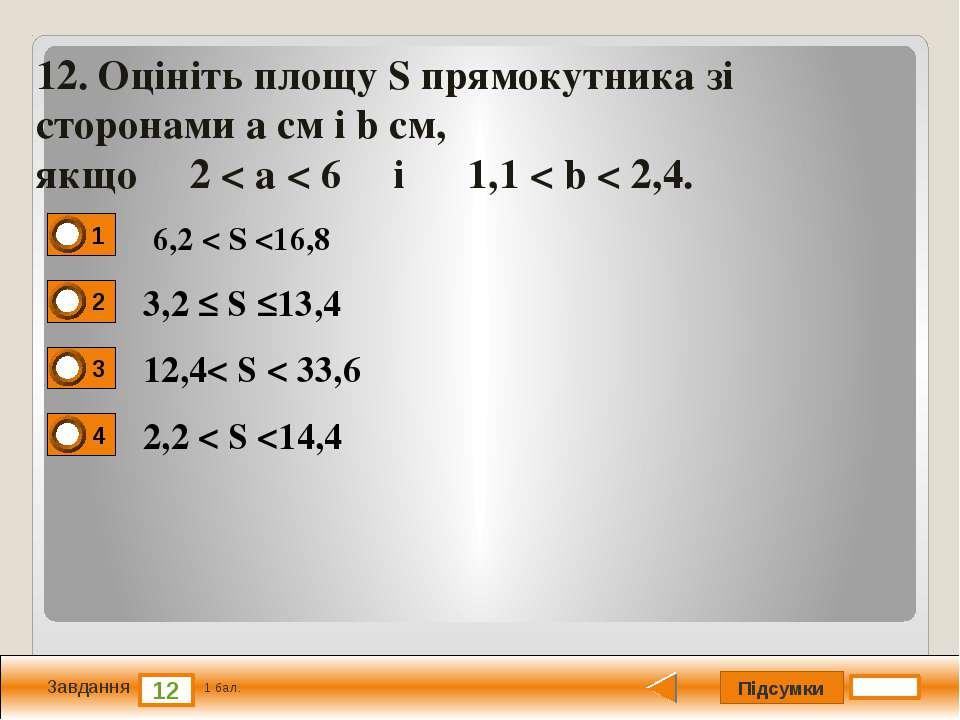 Підсумки 12 Завдання 1 бал. 12. Оцiнiть площу S прямокутника зi сторонами a с...