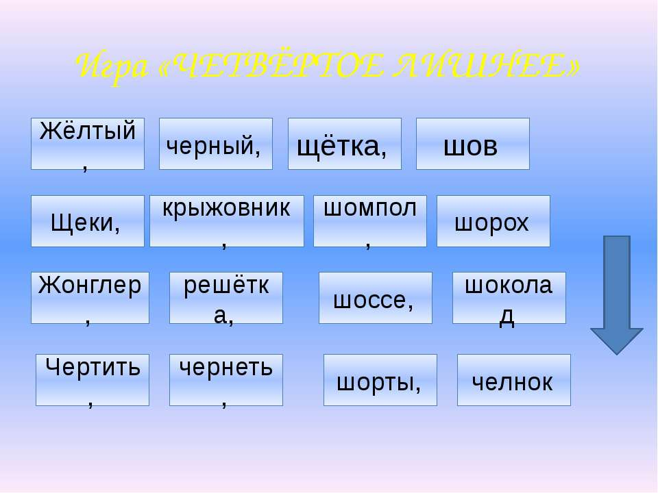 Игра «ЧЕТВЁРТОЕ ЛИШНЕЕ» Жёлтый, черный, щётка, шов Щеки, крыжовник , шомпол, ...