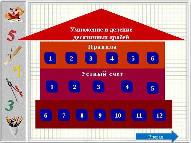 Правила Вопрос 4 Правило деления десятичной дроби на десятичную дробь Ответ Ч...