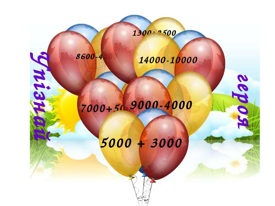 8600-4200 Упізнай героя 7000+5000 1300+2500 14000-10000 9000-4000 5000 + 3000
