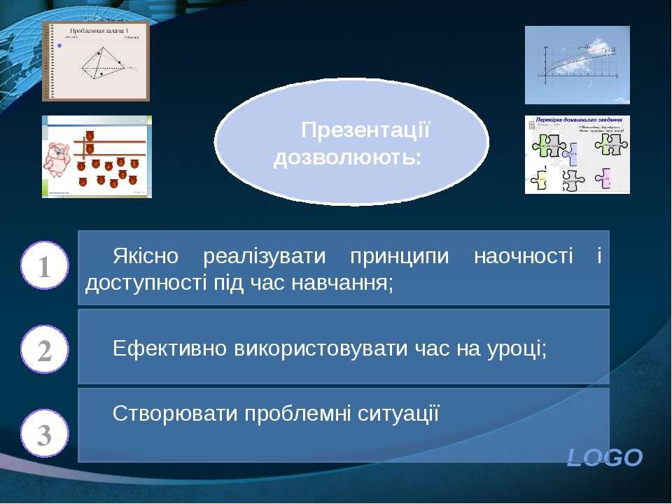 Презентації дозволюють: Якісно реалізувати принципи наочності і доступності п...