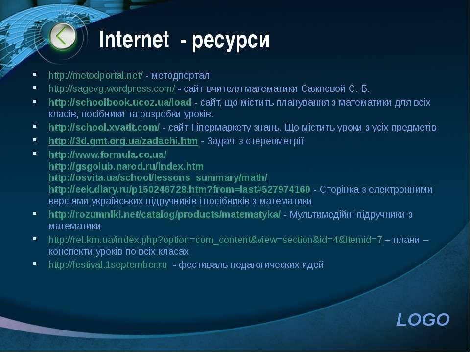 Іnternet - ресурси http://metodportal.net/ - методпортал http://sagevg.wordpr...