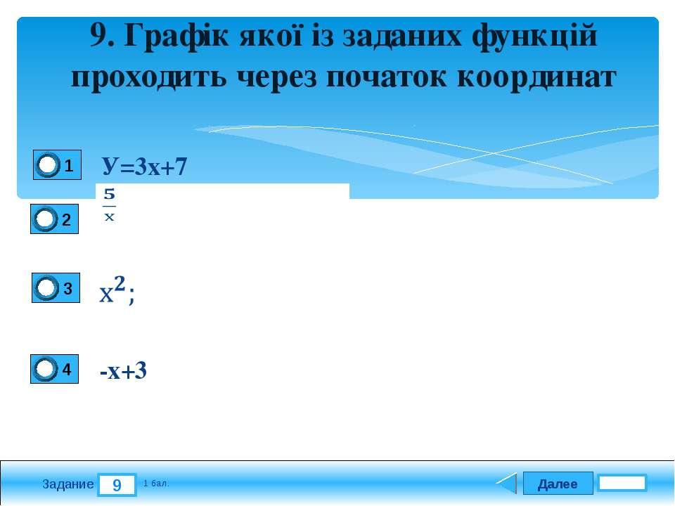 Далее 9 Задание 1 бал. 9. Графік якої із заданих функцій проходить через поча...