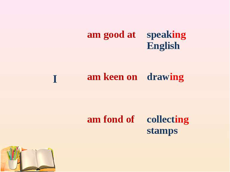 am good at speaking English I am keen on drawing am fond of collecting stamps