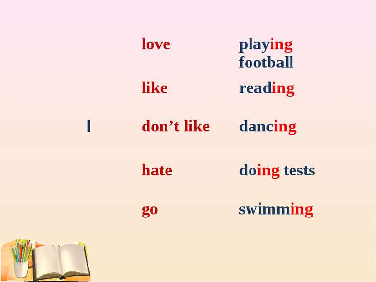 love playing football like reading I don't like dancing hate doing tests go s...
