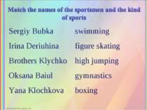 Sergiy Bubka swimming Irina Deriuhina figure skating Brothers Klychko high ju...