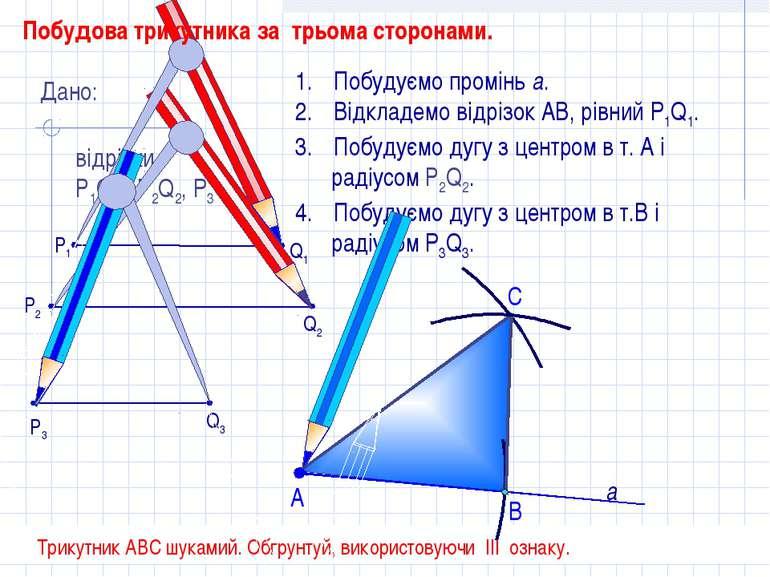 С Побудуємо промінь а. Відкладемо відрізок АВ, рівний P1Q1. Побудуємо дугу з ...