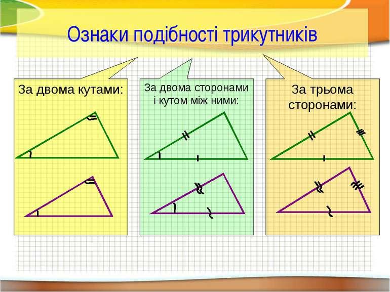 Ознаки подібності трикутників За двома кутами: