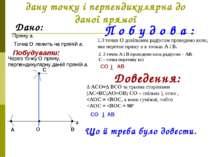 Побудова прямої, що проходить через дану точку і перпендикулярна до даної пря...