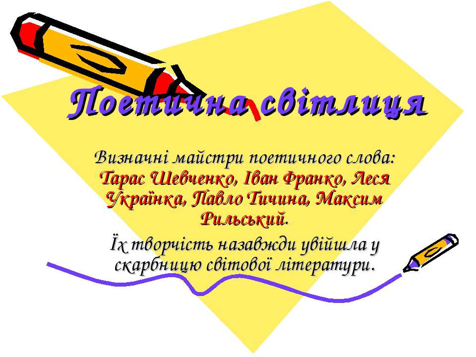 Поетична світлиця Визначні майстри поетичного слова: Тарас Шевченко, Іван Фра...