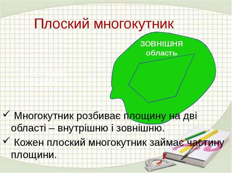Плоский многокутник ВНУТРІШНЯ область ЗОВНІШНЯ область Многокутник розбиває п...