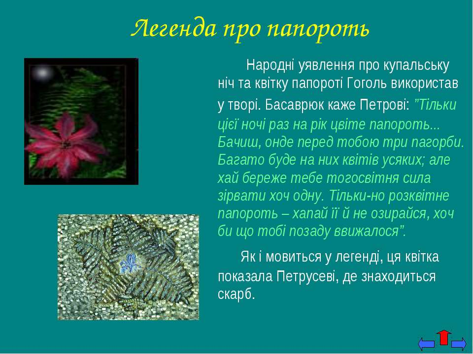 Легенда про папороть Народні уявлення про купальську ніч та квітку папороті Г...