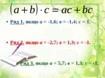 Ряд 1. якщо а = -1,6; в = -1,4; с = 1. Ряд 2. якщо а = -2,7; в = 1,3; с = -1....