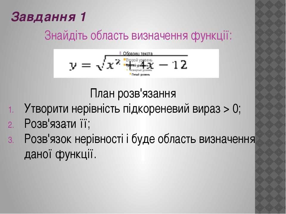 Завдання 1 Знайдіть область визначення функції: План розв'язання Утворити нер...